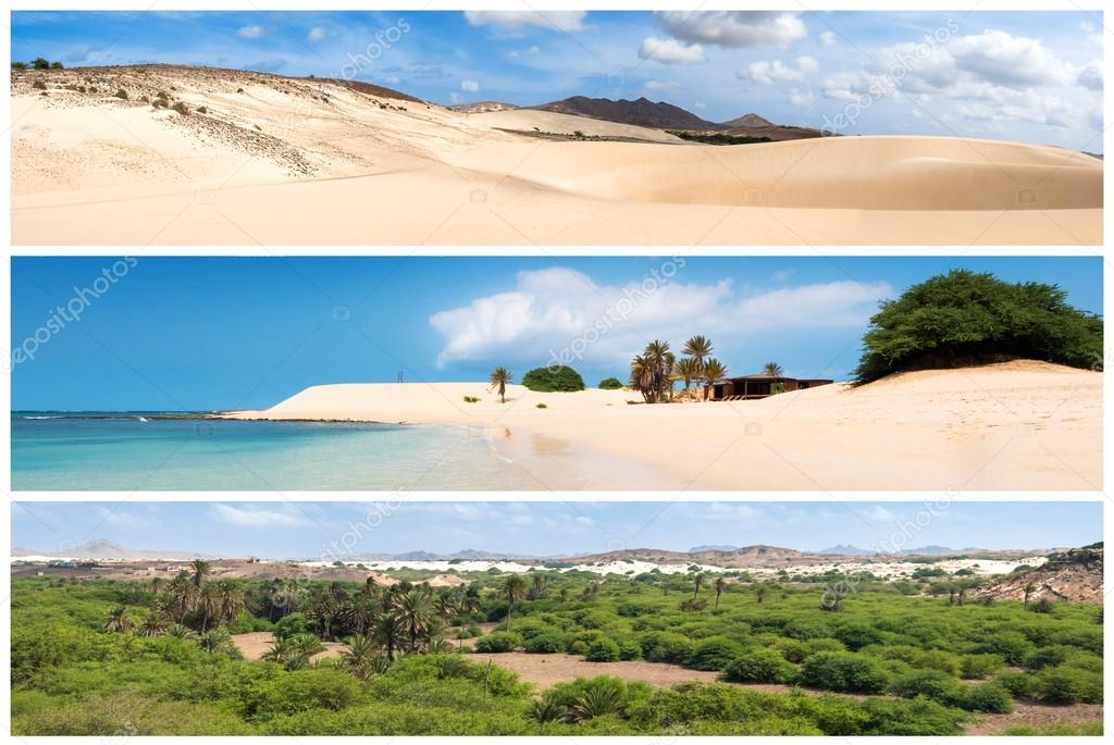 Picture montage of Boavista island landscapes  in Cape Verde arc