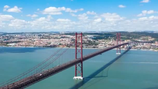 Timelapse of 25 de Abril (April) Bridge in Lisbon - Portugal - UHD