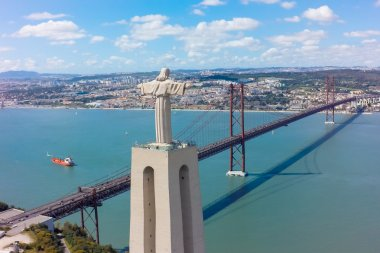 Aerial view Jesus Christ monument watching to Lisbon city