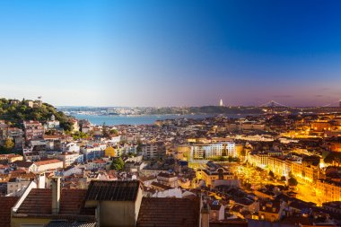 Aerial view montage of Lisbon rooftop from Senhora do Monte