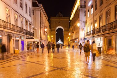 Augusta street by night near commerce square in Lisbon