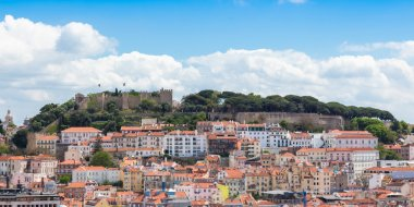 Lisbon St Jorge Castle from Sao Pedro de Alcantara viewpoint