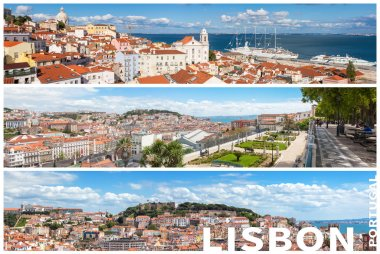 Panoramic Picture Mosaic collage of  Lisbon city viewpoints