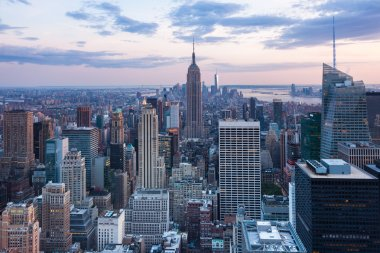 Aerial night view of Manhattan skyline - New York