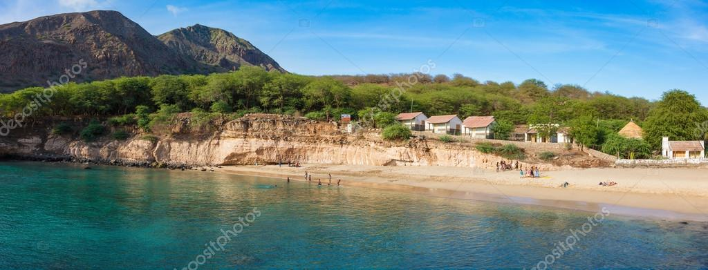 Panoramic view of Tarrafal beach in Santiago island in Cape Verd