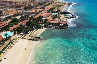 Aerial view of Santa Maria beach in Sal Island Cape Verde - Cabo