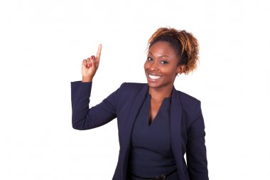 African American business woman pointing something up - Black pe