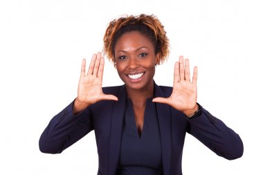 African American business woman making frame gesture with her ha