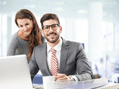 Business partners with laptop