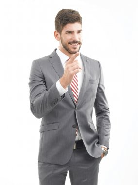 Businessman pointing and smiling
