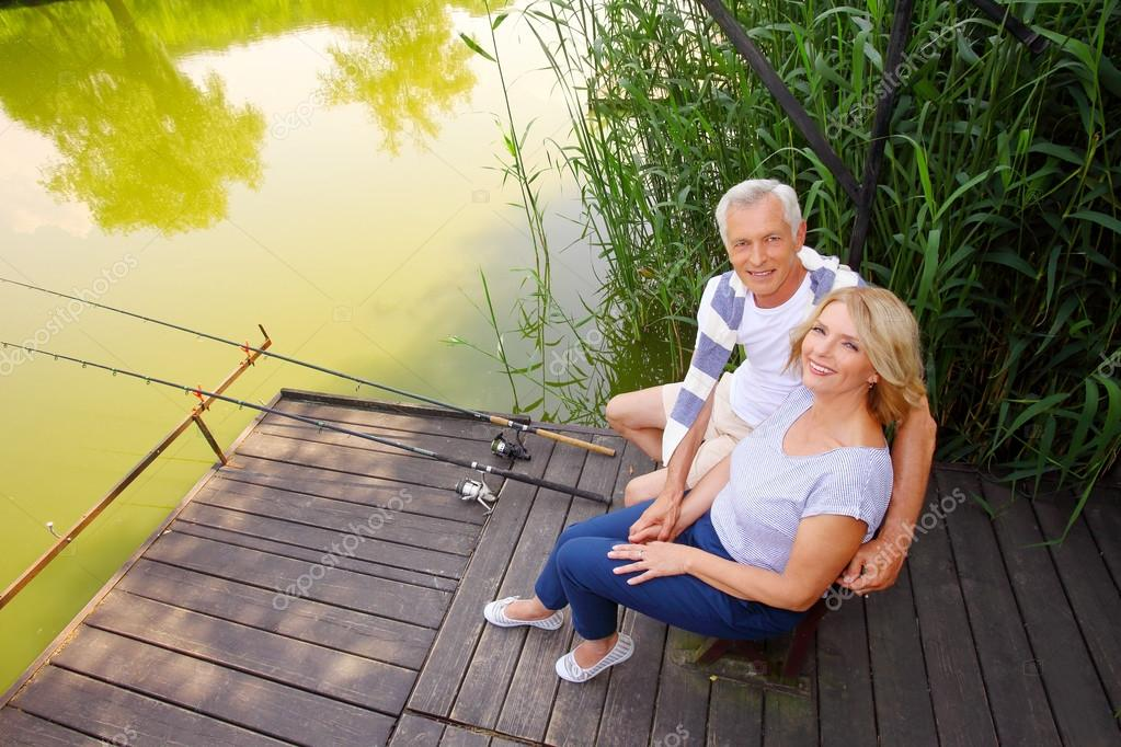 Funny senior people  fishing