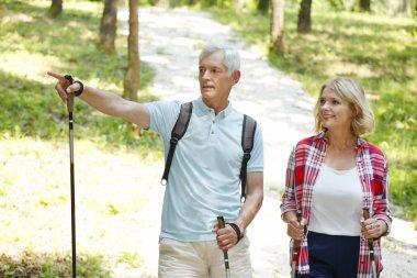 Couple enjoying a nordic walk