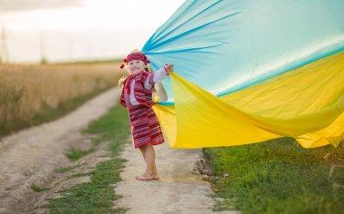 girl with a flag of Ukraine