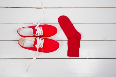 red shoes with socks