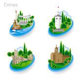 Wahrzeichen der Krim. Reihe von Farbsymbolen. Vektorillustration
