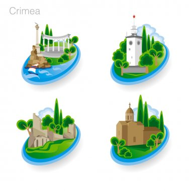 Landmarks of Crimea. Set of color icons. Vector illustration