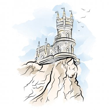 Yalta Swallow Nest. Drawing illustration