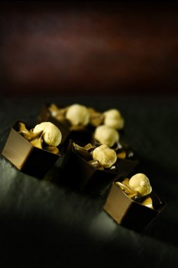 Luxury hazelnut and praline mousse liqueur chocolates
