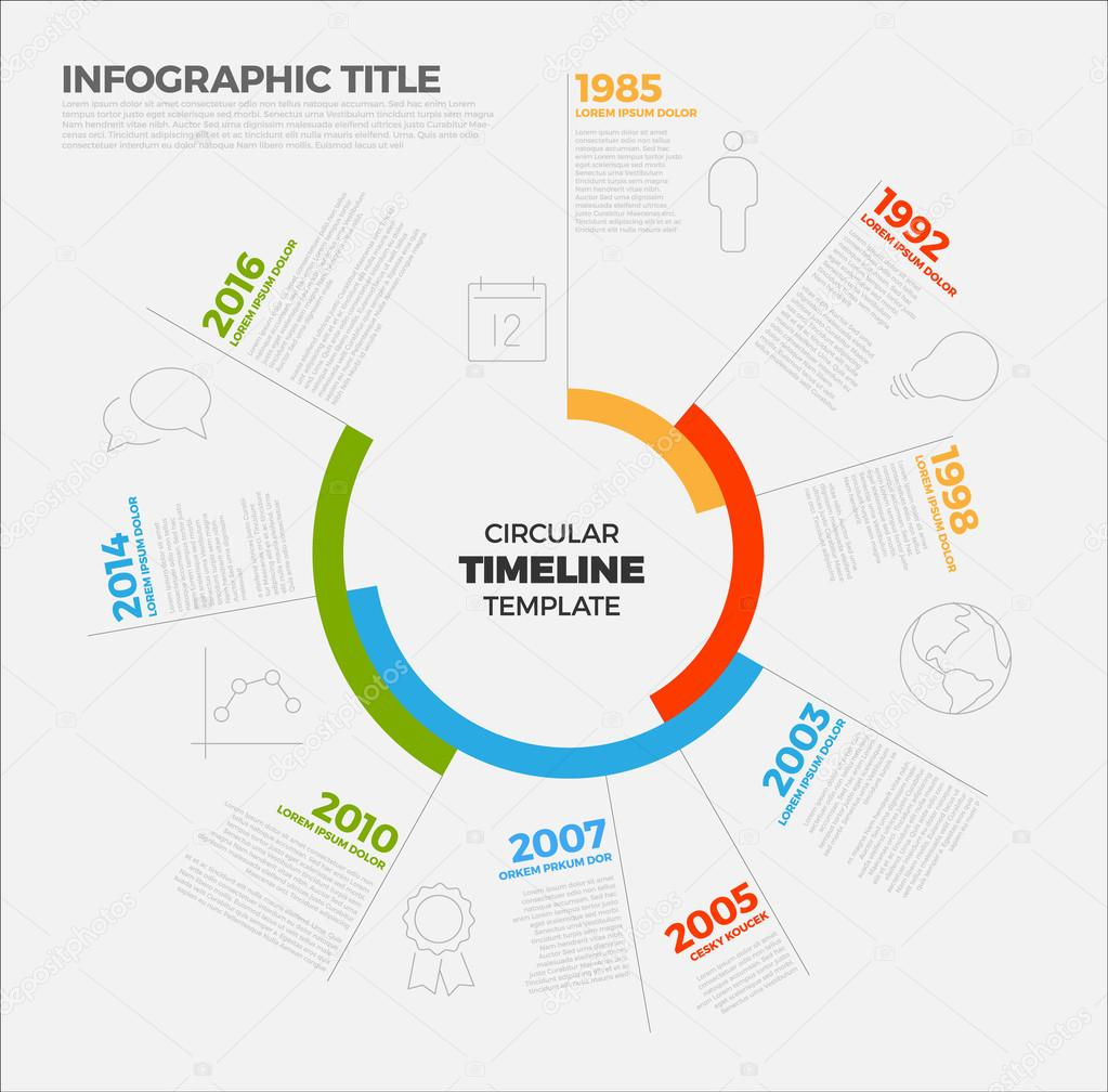 Plantilla de informe de línea de tiempo circular de infografía ...