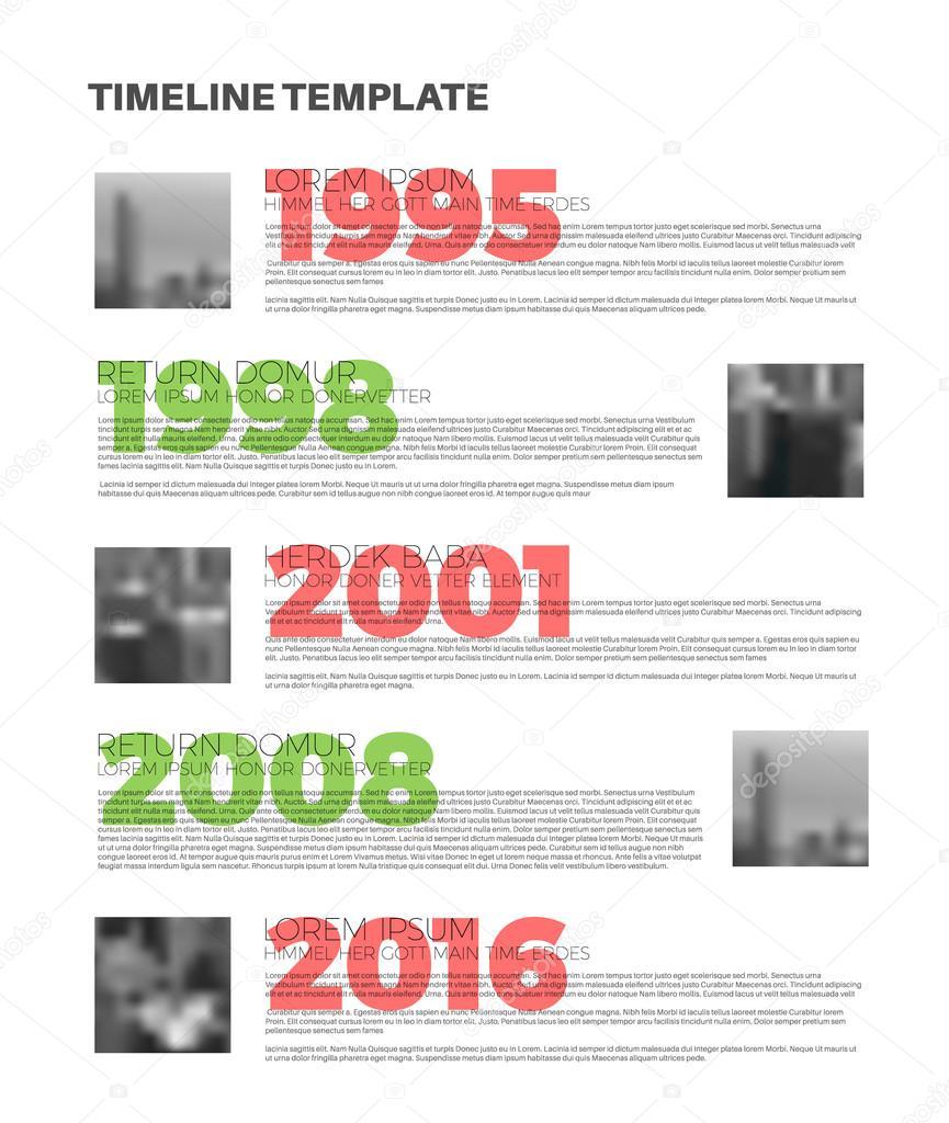 Typographic Timeline Report Template Stock Vector