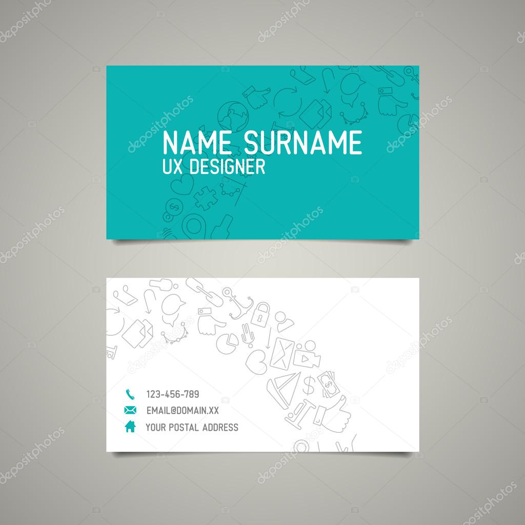 Modern Simple Business Card Template For Ux Designer Stock - Simple business card templates