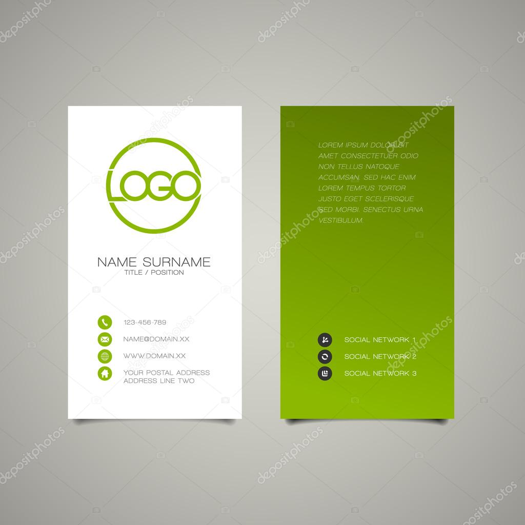Modern Simple Vertical Business Card Template Stock Vector - Business card vertical template
