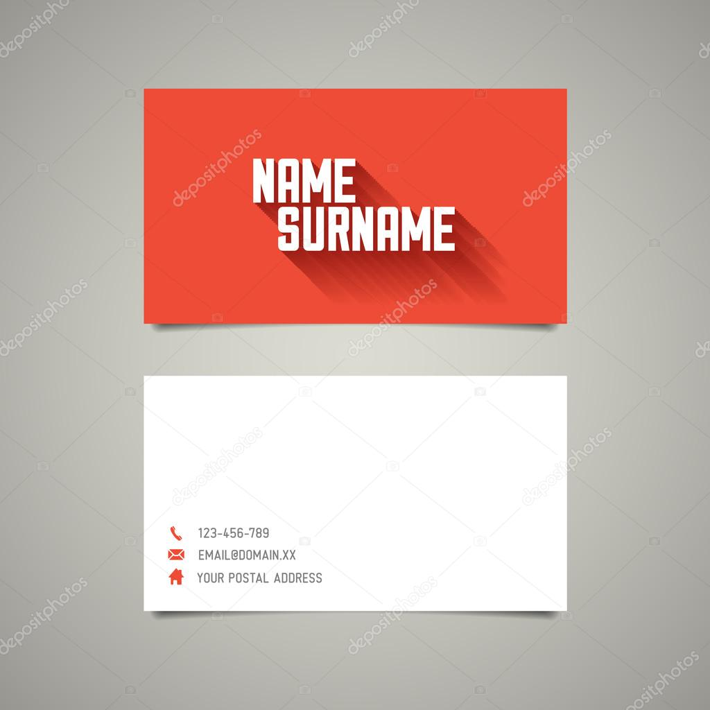 Modern simple business card template with long shadow effect ...