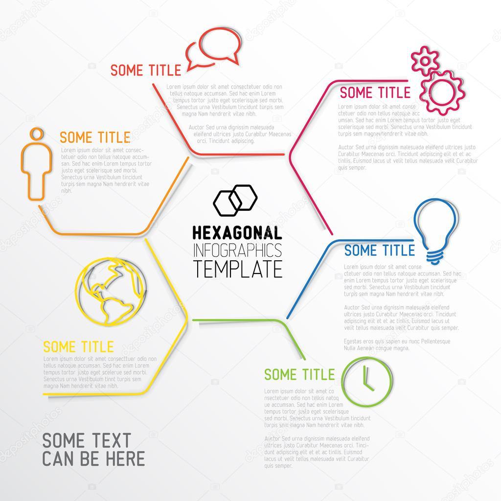 plantilla de informe infografía moderna hexagonal — Vector de stock ...