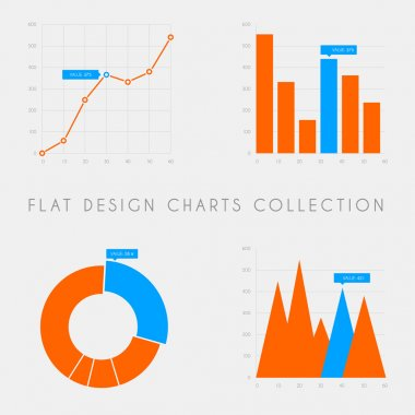 Flat design statistics charts and graphs