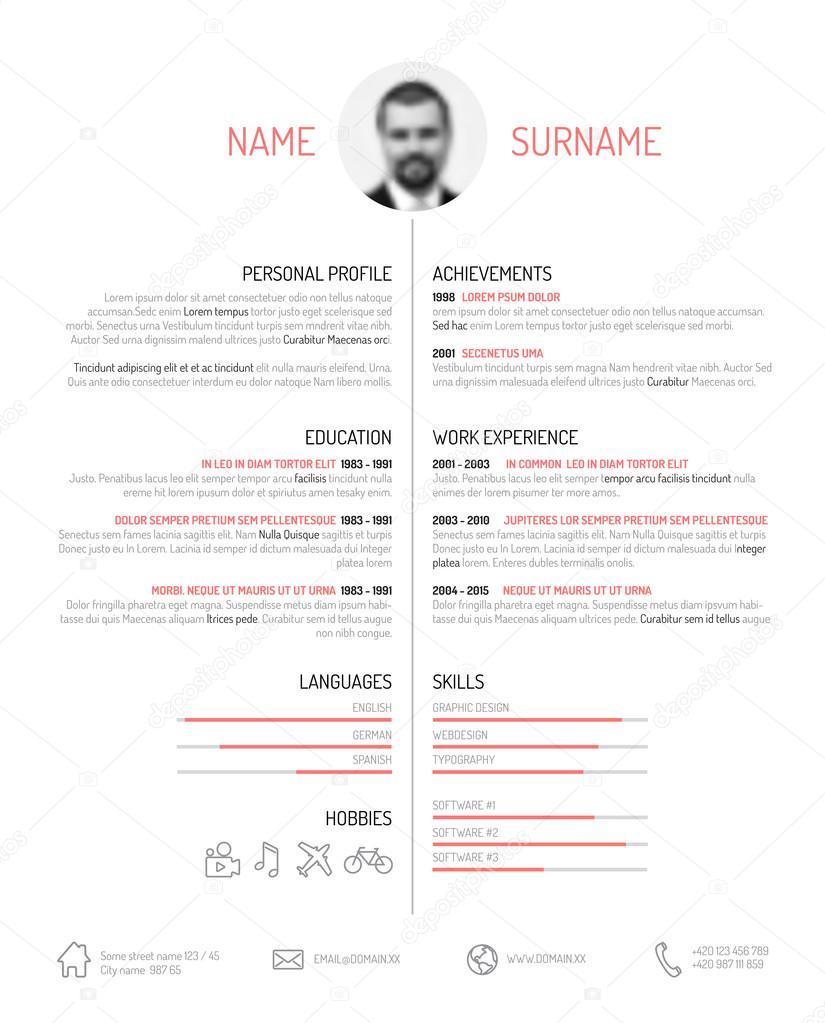 Plantilla de curriculum vitae minimalista — Archivo Imágenes ...