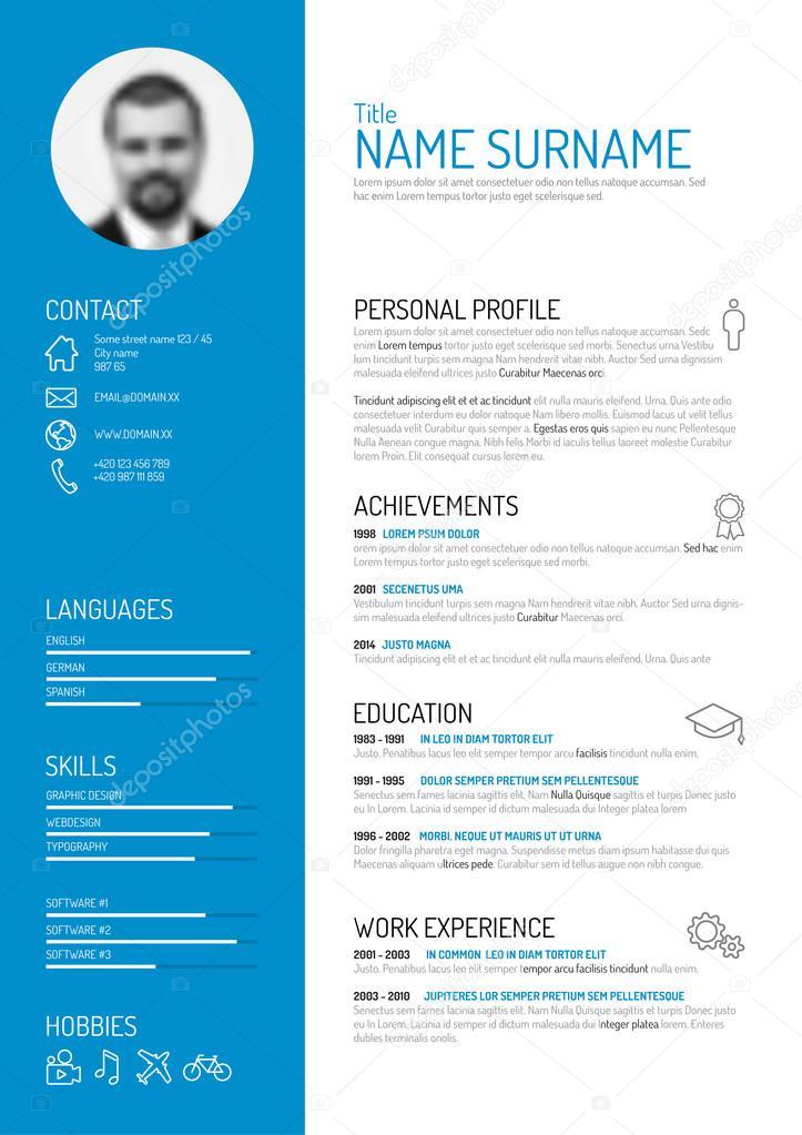 minimalist resume template  u2014 stock vector  u00a9 orson  65663925