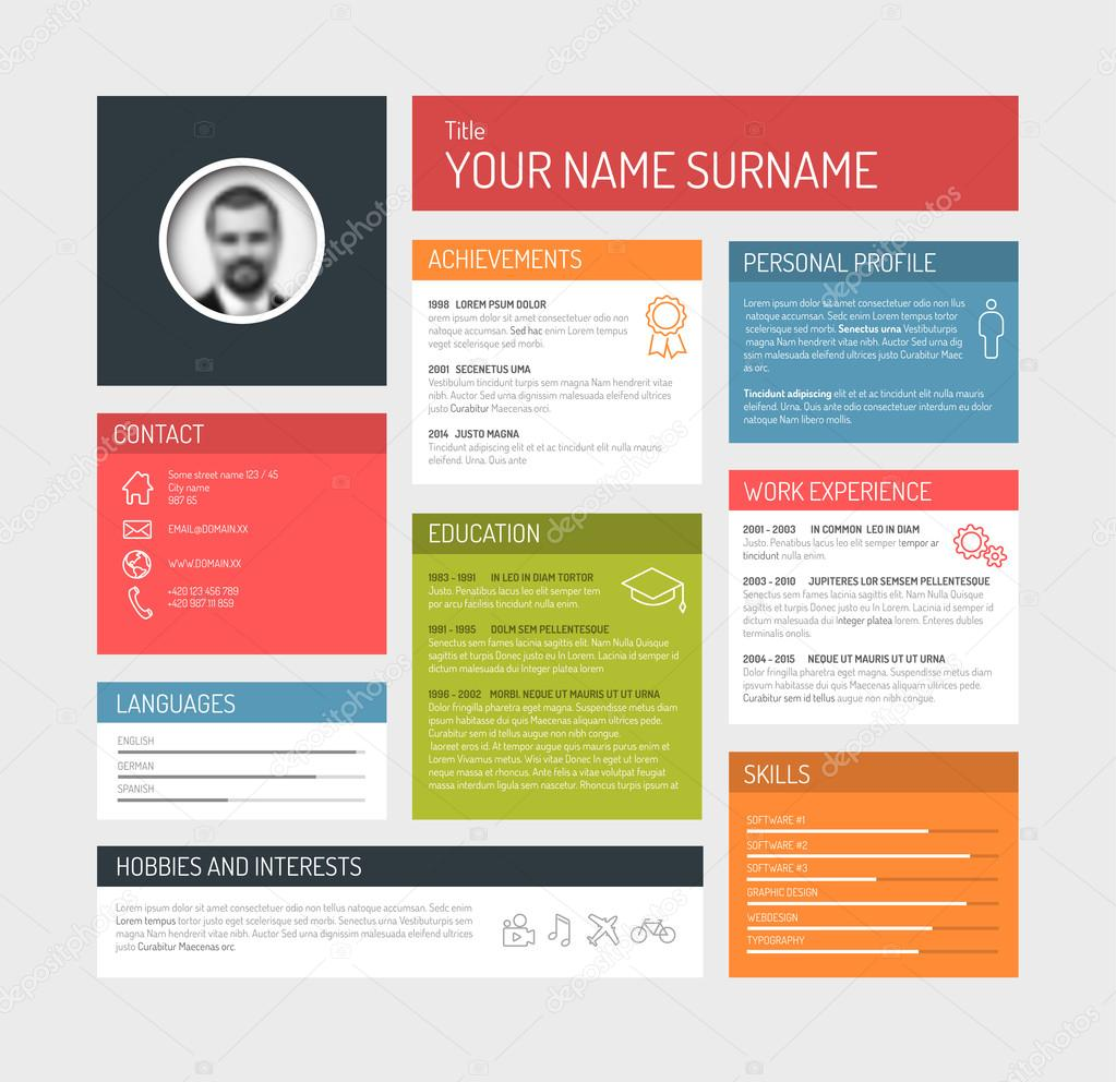 resume template dashboard profile  u2014 stock vector  u00a9 orson  66955507