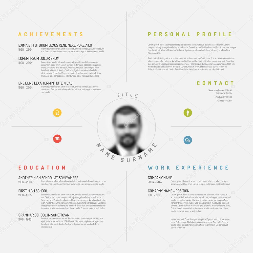 design minimaliste cv curriculum vitae mod u00e8le  u2014 image vectorielle orson  u00a9  72992011