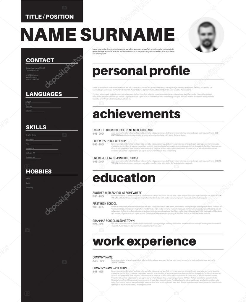 Minimalist Cv Resume Template  Stock Vector  Orson