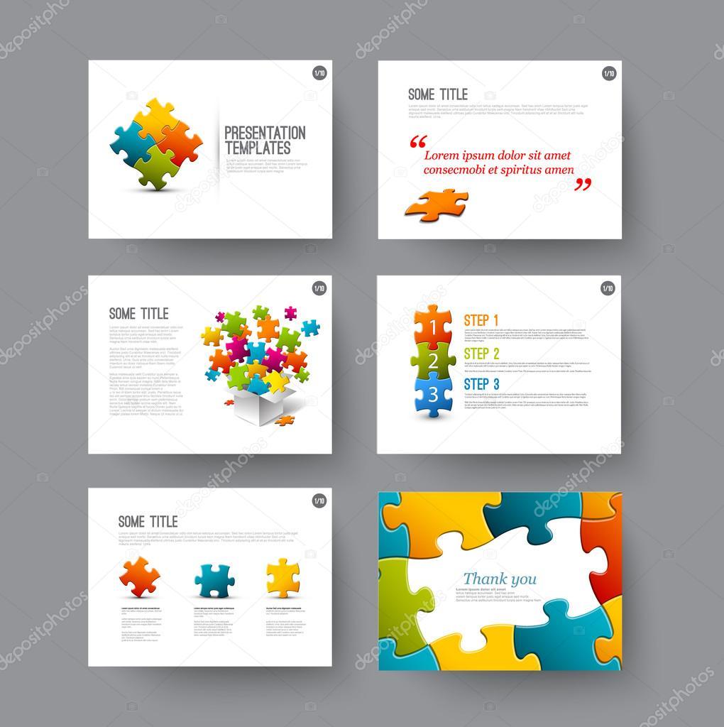 presentation slides with puzzle pieces ストックベクター orson