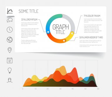 template with flat design graphs and chart
