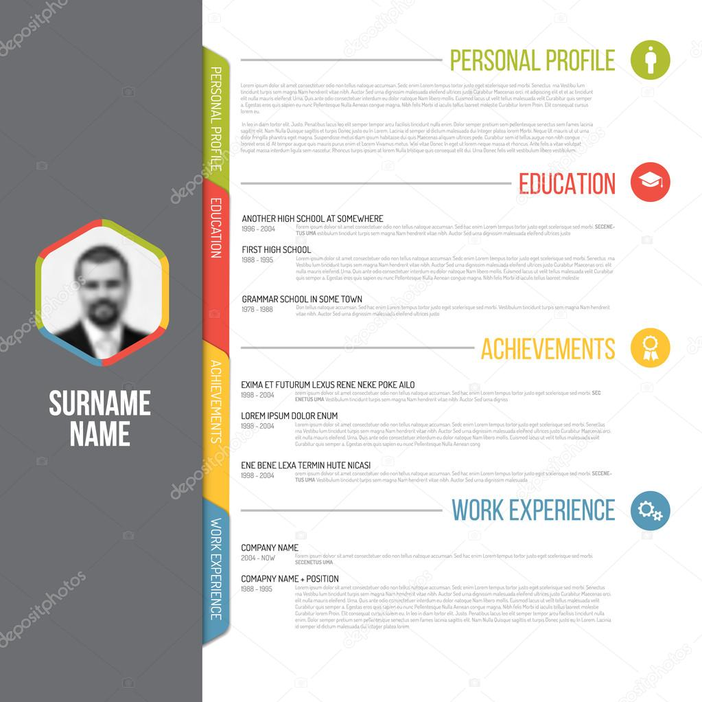 resume template design with profile photo  u2014 stock vector