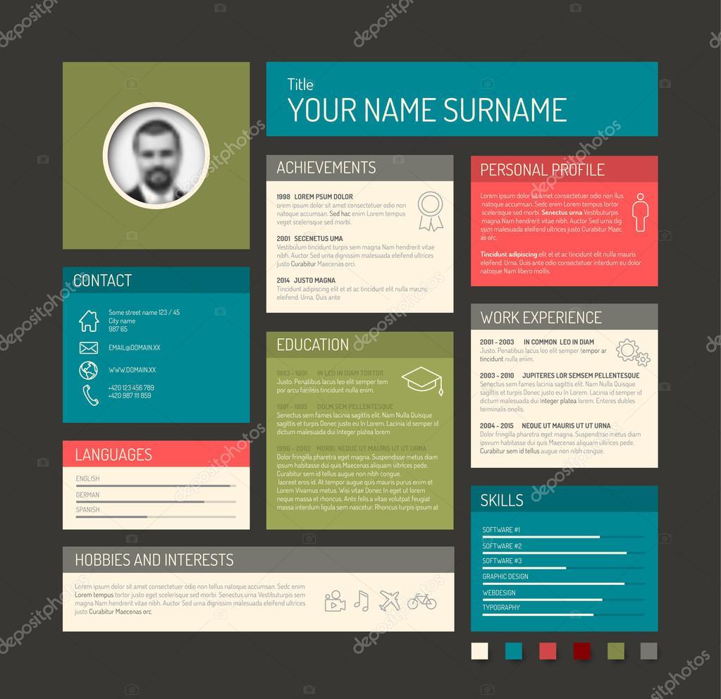 Curriculum Vitae plantilla panel perfil — Archivo Imágenes ...