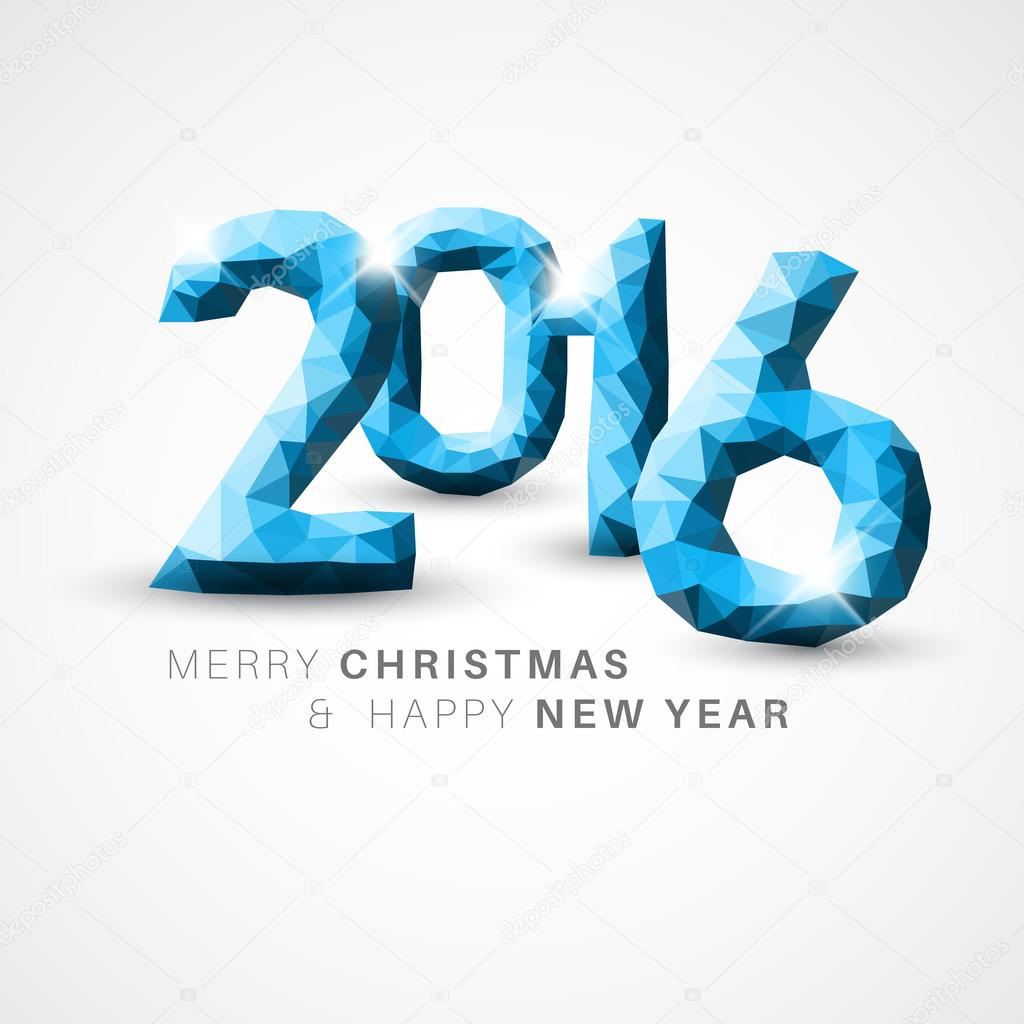 vector modern simple happy new year card 2016 with low poly numbers vector by orson