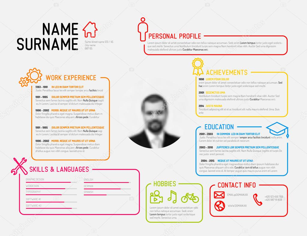 original minimalist cv resume template  u2014 stock vector