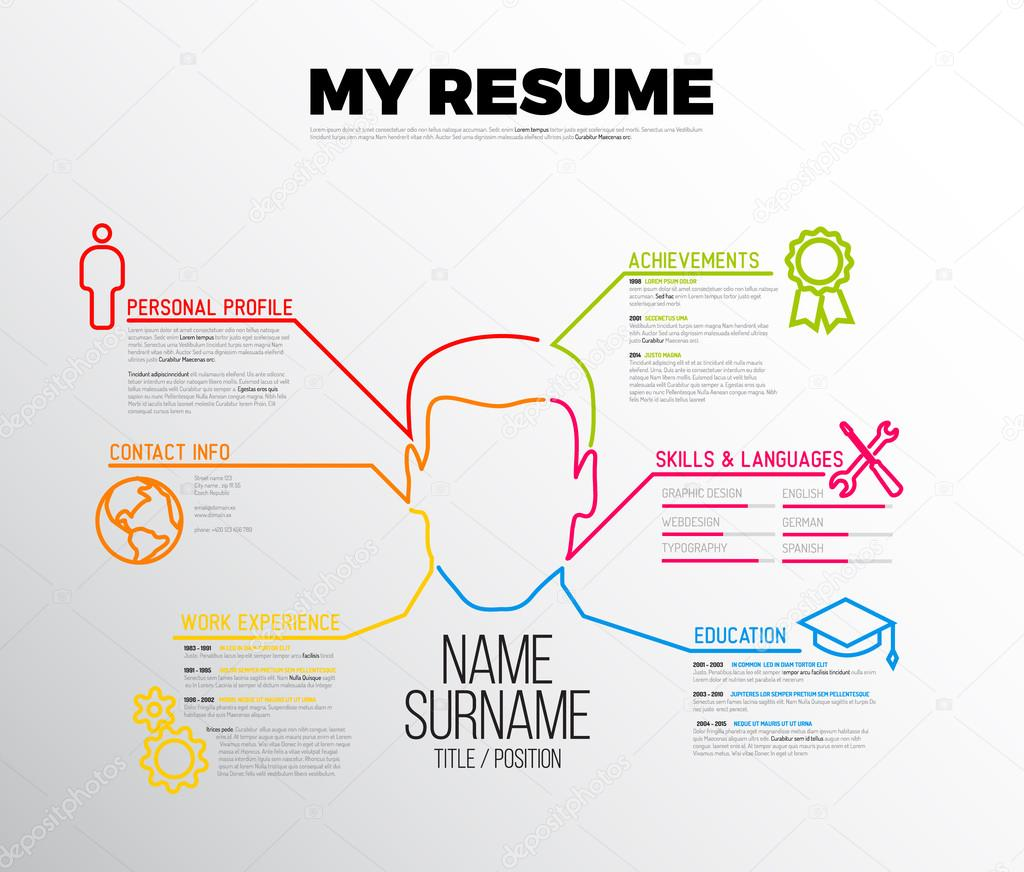 Original Cv Resume Template Stock Vector C Orson 96089862