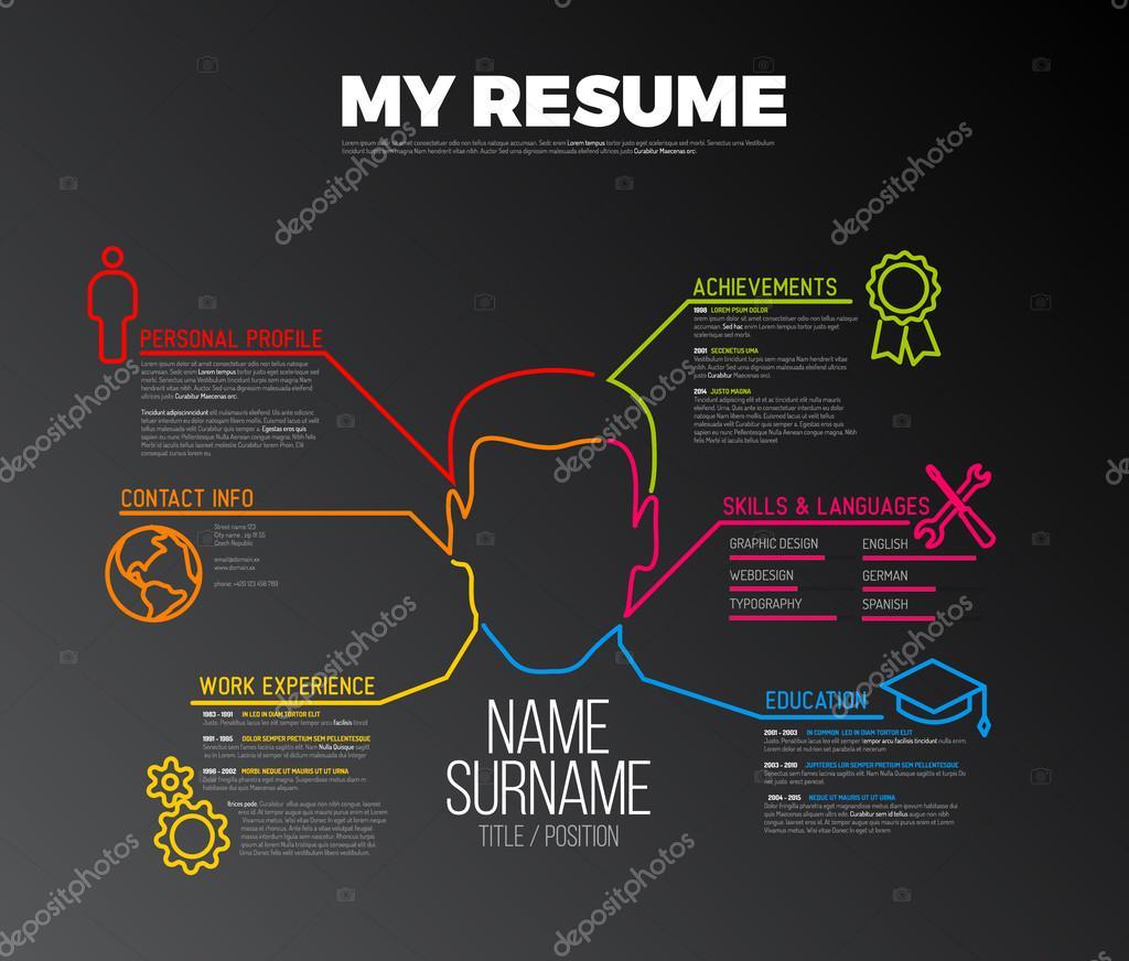 minimalista del resume cv  u2014 vettoriali stock  u00a9 orson  97765948