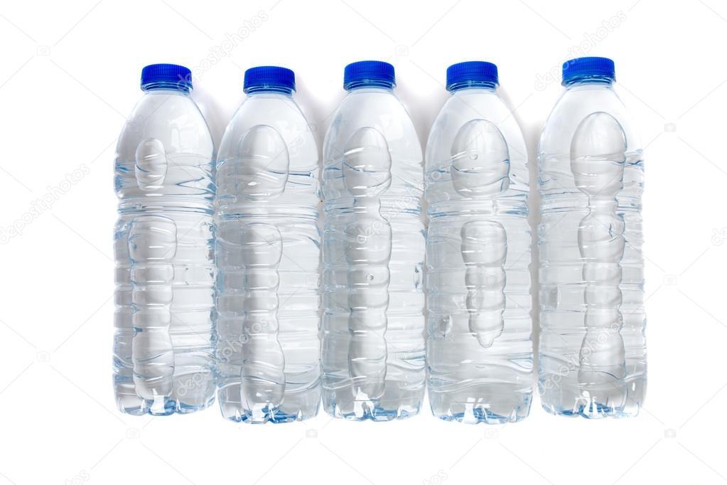 Wiersz Z Plastikowych Butelek Po Wodzie Zdjęcie Stockowe