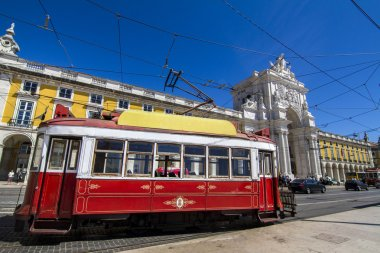 vintage famous red electrical trams