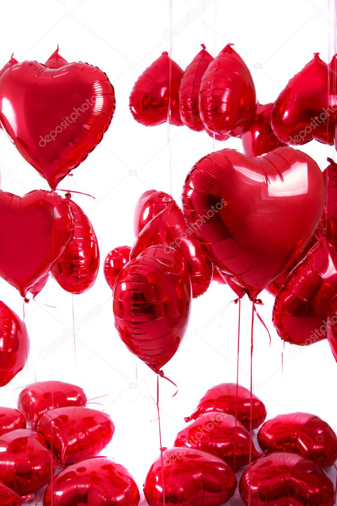 Bunch Of Red Heart Balloons Stock Image