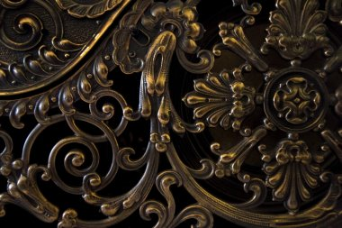 old vintage golden brass floral detail
