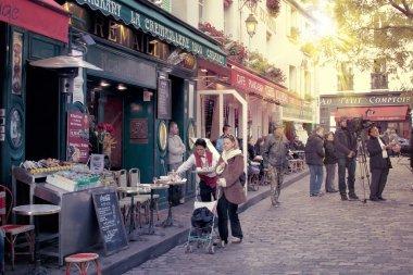 Paris montmartre street scene