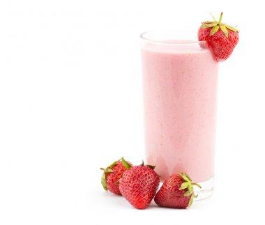 Strawberry smoothie with fresh strawberrys