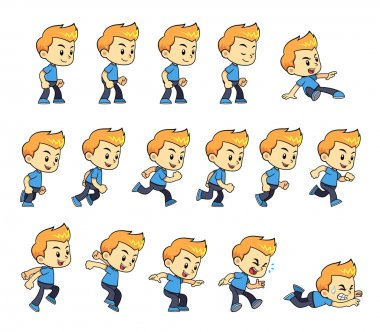 Blue Shirt Boy game sprites for side scrolling action adventure endless runner 2D mobile game. stock vector