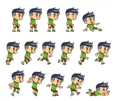 Sporty Boy game sprites for side scrolling action adventure endless runner 2D mobile game. stock vector